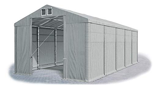 Das Company Storage Tent 5x10x4m waterproof grey Heavy-Duty PVC 560g/m² Tarpaulin all-year Carport Winter Plus SD
