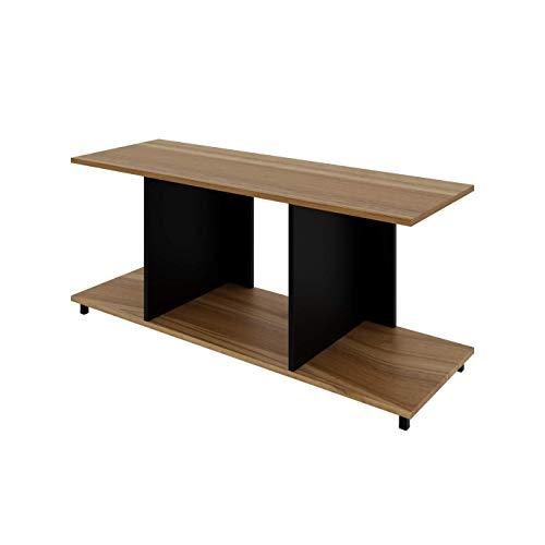 LEVIRA Mueble de Suporte para TV, Mesa de Salón Elektor, 110 x 40 x 50 - Negro y Nogal Troia