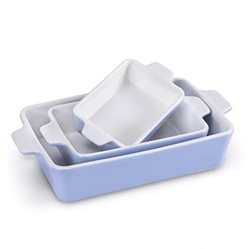 Ceramic Baking Dish, SIDUCAL Porcelain Baking Pans Bakeware Set of 3 Piece, Rectangular Baking Pan for Cooking,Cake Dinner,Kitchen,Wrapping Upgrade,Lavender
