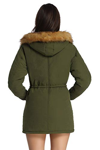 iloveSIA Womens Hooded Coat Faux Fur Lined Jacket Army Green 14