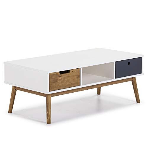 VS Venta-stock Tavolino da caffè Leti Bianco, Pino Massiccio, 2 cassetti, 110 cm