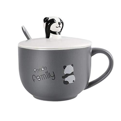 XinQing-Juegos de té Panda Taza Pintada a Mano, Taza de café de cerámica, Taza con Cuchara de Tapa, de Gran Capacidad, Regalo for los Amantes