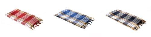 Carenesse Serviette de Hammam Classique Lot de 3 à carreaux noir, bleu, rouge, 75 x 170 cm, 100% coton, léger, petit format, pestemal, serviette turque, fouta