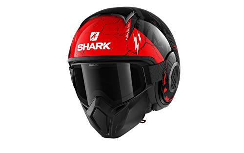 Shark Casco moto STREET DRAK CROWER KAR, Nero/Rosso, M