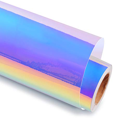 Holographic Chrome Opal White Adhesive Craft Vinyl 12 Inch X 6 Feet, Opal White