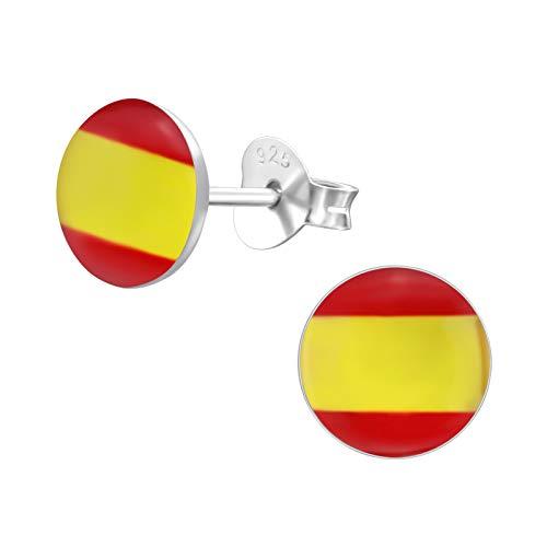 laimons–Pendientes para mujer joyería femenina España Bandera Diseño Placa Plata de ley 925
