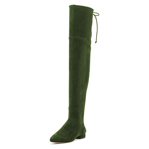 YDN Women Sexy Closed Toe Over The Knee Boots Lace Up Thigh High Faux Suede Low Heel Dress Flat Long Booties Green 12