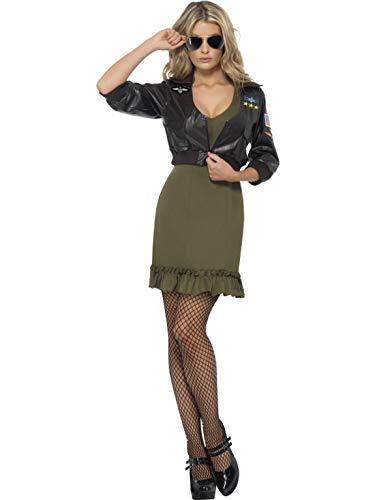 Luxuspiraten - Damen Frauen Top Gun Pilotin Flieger Kostüm mit Kleid und Bomberjacke, perfekt für Karneval, Fasching und Fastnacht, S,...