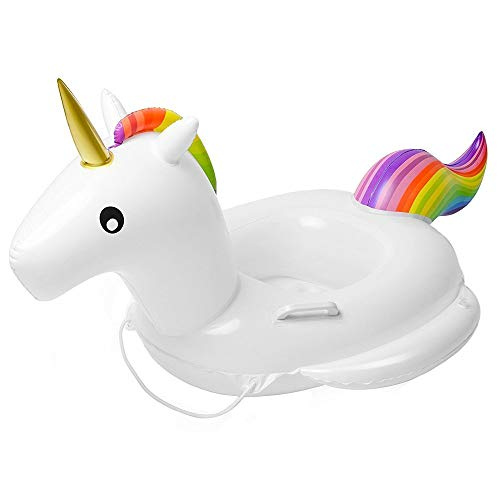 Baby Pool Float Unicorn Toddlers Floaties Infant Inflatable Swimming Ring with Handles for Kids Aged 16 Years