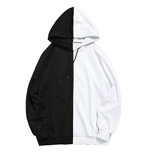 Sudadera con capucha de manga larga para hombre, Negro, XXL