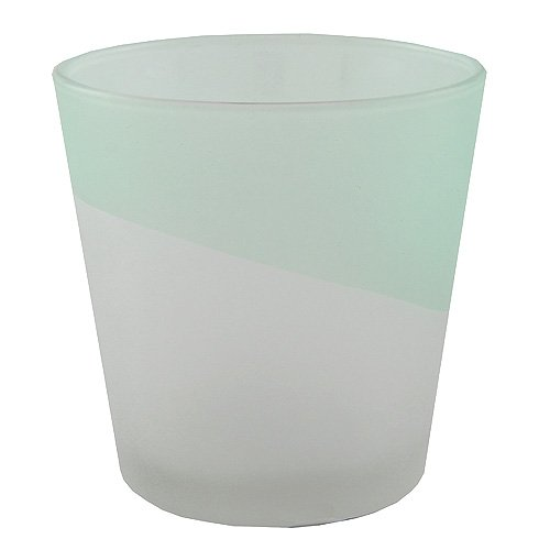 Yankee Candle Serene Sandblast Aqua Sampler Holder, White/Green, 7.7x10.3x1 cm