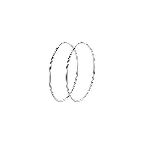 Pendientes de aro grandes de plata de ley 925 con forma de círculo, 40/50/60/70/90 mm para mujeres y niñas (40 mm)