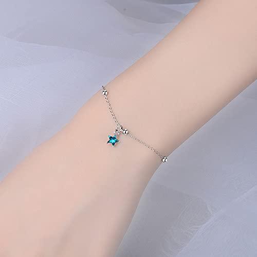 DJMJHG Hermosas Pulseras de Estrella Azul de Cristal para Mujer, Encanto de joyería, Pulseras de Plata de Ley 925, Regalo de San Valentín para niña