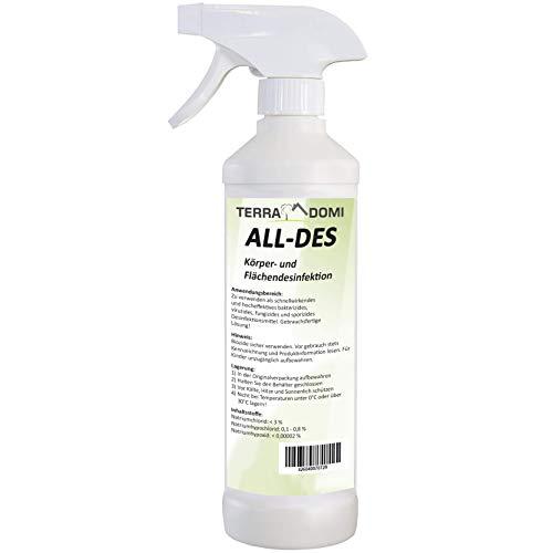 Terra Domi All-des, 500ml, Schnell Desinfektionsmittel gegen Viren, Bakterien, Pilze und Sporen, Haccp-,QS- und Bio-konform