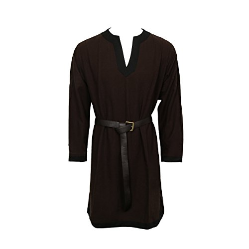 Nofonda Herren Mittelalter Tunika Tunic LARP Knight Hemd Rock Robe Cosplay Kostüm Halloween Party (Braun, XL)