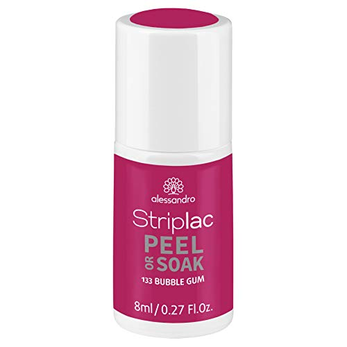 alessandro Striplac Peel or Soak Bubble Gum – LED-Nagellack in dunklem Pink – Für perfekte Nägel in 15 Minuten – 1 x 8ml