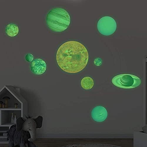 XAVSWRDE Pegatinas Fluorescentes del Sistema Solar, 10 unidades Pegatinas de Planetas Fluorescentes, Brillan por la Noche, Decoración Habitación Niño/a y Bebé, Pegatinas Luminosas para Pared y Techo