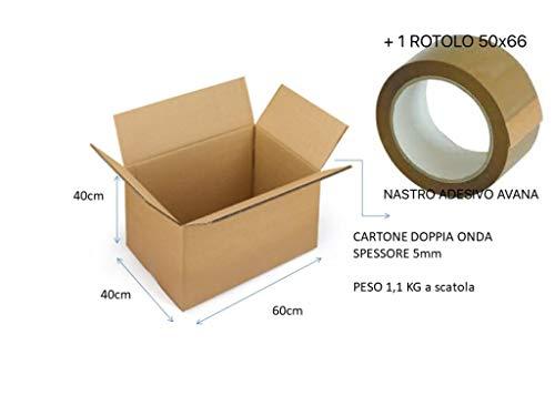 4cajas de cartón de 60x 40x 40cm con 1cinta adhesiva habana–embalaje Cartón Doble Onda para envíos/almacén/árbol de navidad paquete neutro