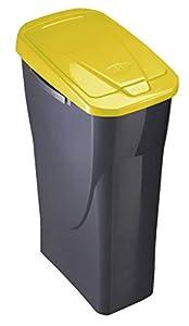 mondex Cubo 25 L ECOBIN con Tapa de Color Amarillo 21,5x36x51 cm, Mediano