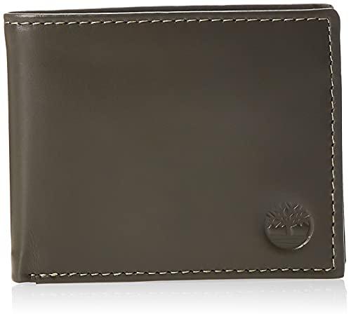 Timberland Leather Wallet with Attached Flip Pocket Accessori da Viaggio-Portafoglio bi-Fold, Carbone, Taglia Unica Uomo