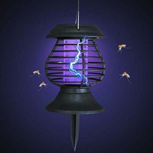 Uonlytech Solar Mückenvernichter, Vintage Outdoor-Mückenfalle, Solar Fly Pest Bugs Insektenvernichter Lampe für Outdoor Home Garden Veranda Patio (schwarz)