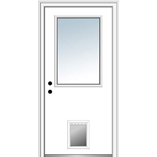 """National Door Company ZZ00779R Steel Primed, Right Hand in-Swing, Prehung Front Door 1/2 Lite with Pet Door, Clear Glass, 36"""" x 80"""""""