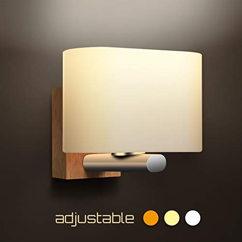 Applique da Parete Interno Moderno, Awebb Lampada da Parete LED Legno per Corridoio/bagno/Scala/Camera da Letto (includere la lampadina E27)