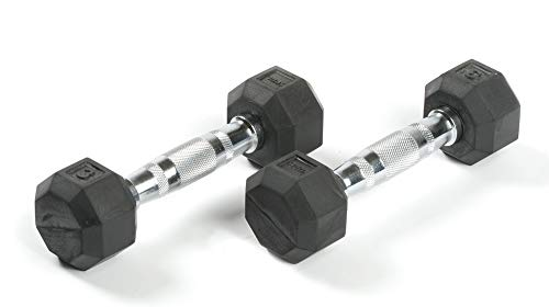 SPRI Deluxe Rubber Dumbbells (Sold as Set of 2) (3-Pound)