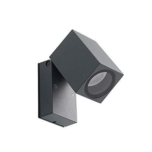 ELC LED Wandlampe aussen, Schutzart IP44, Anthrazit, schwenkbar, Downlight, LED Wandleuchte aussen, Aussenleuchte, LED Strahler, Spot, 1 x 5W GU10 LED Leuchtmittel, Aussenleuchte Wand