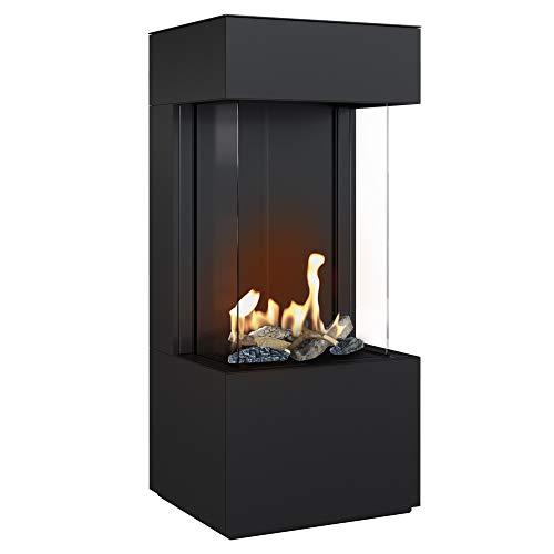KRATKI Kaminofen Leo Home Easy Box Komplettset | Maße in cm: H131,2 x B57,4 x T52,4 | Brennstoff: Erdgas, Nennwärmeleistung 6,5 kW, Fernbedienung, optionales WLAN-Modul, Energieeffizienzklasse C