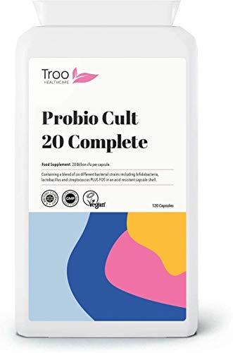 Probio Cult-20 120 Vegan Capsules 20 Billion cfu | 6 Strain Active Bacterial Cultures | Targeted Release | Acidophilus | Bifidobacterium | Streptococcus Thermophilus | UK Manufactured