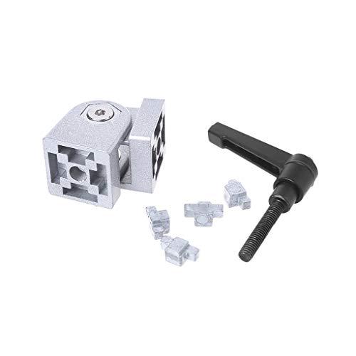 JOYKK 3030S Zinklegierung Flexibles Scharnier mit Griff Druckguss-Gelenkverbinder für Aluminiumprofil - Silber