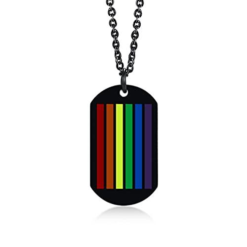Collar con colgante de collar militar con diseño de orgullo gay para hombres y mujeres, cadena de acero inoxidable, regalo de joyería