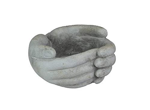Mayrich 5.75 Inch Helping Hands Indoor/Outdoor Concrete Mini Plant Pot Planter/Candle Holder