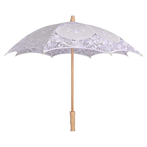 Brautschirm Damenschirm Viktorianischer Stil Handgemachte Spitzenschirm mit Spitze Women Parasol,Sun Lace case Regenschirm Vintage Hochzeit Spitze Stickerei Reine Baumwolle (Weiß)