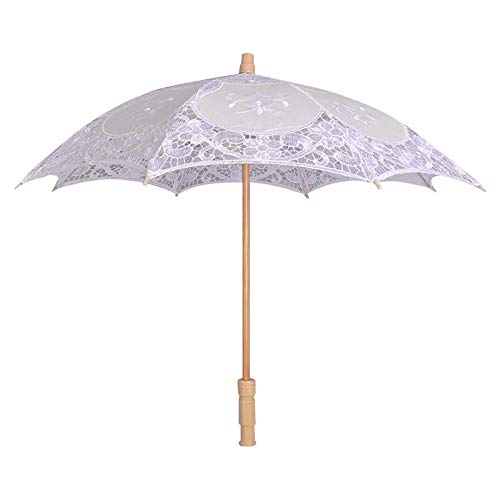Hot Sale!DEESEE(TM)Lace Embroidered Sun Parasol Umbrella Bridal Wedding Dancing Party Photo Show (White)