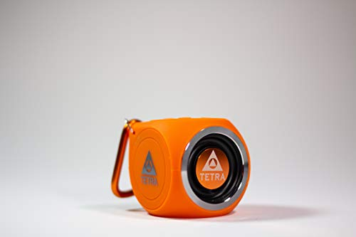 TETRA Audio SoundWave Mini Bluetooth Waterproof Portable Shower Speaker - Compatible with iPhone, Android, Windows, Mac and Echo Dot - Loud with Great Sound Quality - Lightweight, Only 2.6 oz (Orange)