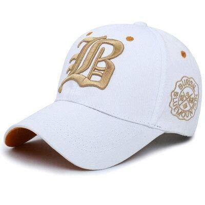 Gorra de béisbol con letras bordadas de algodón, para hombre, primavera, verano, otoño, ocio, deportes al aire libre, gorra con visera ancha (color: blanco, tamaño: 55 59 cm)