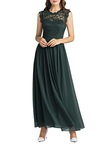 MuaDress 6056 Damen Retro Floral Lace Brautjungfernkleider Rüschen Hochzeit Maxi Kleid Dunkelnrün XS
