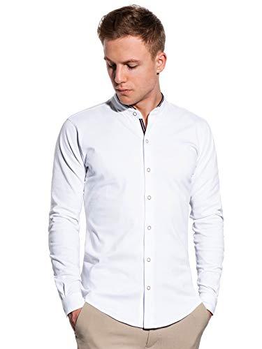 Ombre - Camisa para hombre, corte entallado con cuello alto, manga larga, tallas S-XXL, 5 colores, 100% algodón, XXL blanco