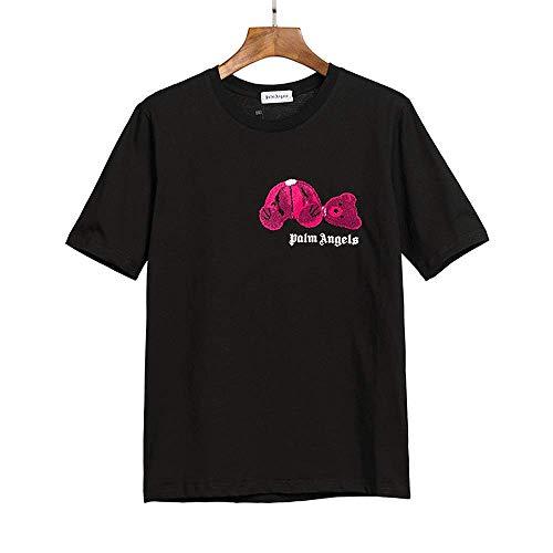 NuanNuan Frühlings- Und Sommer-T-Shirts Für Männer Und Frauen, Klassische Street Angel-Kurzärmel, Bären-Hip-Hop-Musterdruck, Lässige, Lose Hemden, Baumwolle