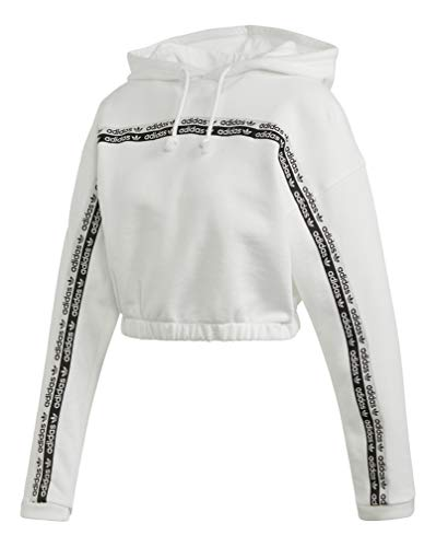 adidas Originals Damen Cropped Hooded Sweatshirt, weiß, X-Large