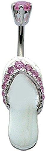 BlingBling GlitZ Damen Bauchnabelpiercing chirurgenstah mit Kristallen in Flip flop design Größe 10MM Pink