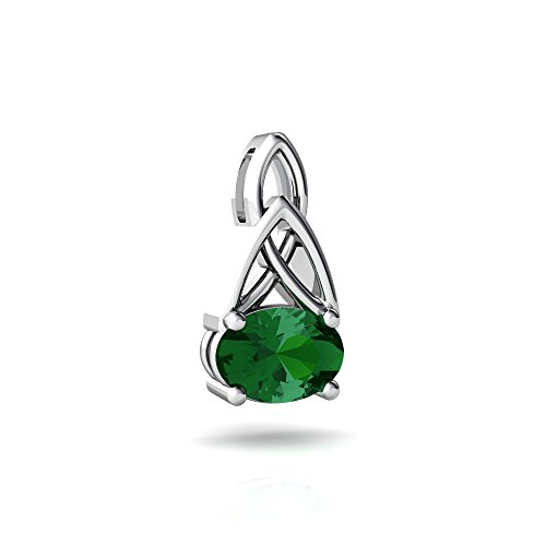 14kt White Gold Lab Emerald 7x5mm Oval Celtic Trinity Knot Pendant