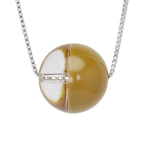 真珠の杜 水晶 ネックレス クォーツ SV925 シルバー925 銀 色漆 カーキ色 黄土色 銀色 ペンダント スルーネックレス レディース 誕生石 4月 dpn658-714yps