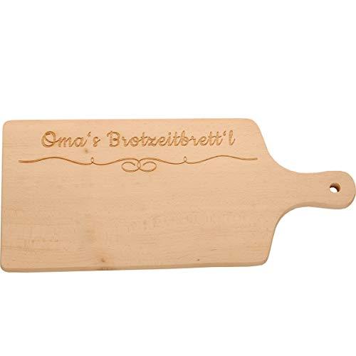 Tagliere con scritta in lingua tedesca, 100% EMOTIONAL, con manico e occhiello, in legno con incisione Tagliere per il pranzo della nonna.