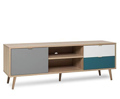 Newfurn TV Lowboard Sonoma Eiche TV Schrank Modern - 150x52x40 cm (BxHxT) - Fernsehtisch TV Board Skandinavisches Design - [Jona.Five] Wohnzimmer