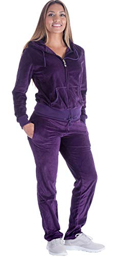 Jogging Suits for Women Set Petite Track Suit Two 2 Piece Outfits Velvet Tracksuit Sets Velour Zip Up Hoodie Sweatshirt & Sweatpants Sweatsuits(Purple, XL)