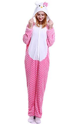 YAOMEI Erwachsene Unisex Overalls, Kostüm Tier Kostüm Anzug Strampler Nachthemd Pyjama Hoodie Nachtwäsche Cosplay Karton 3D Kigurumi Karneval Weihnachten Halloween (S, Kitty)