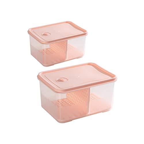 WFS Recipiente hermetico Contenedores de Alimentos Fridge Organizer Caja con Tapa congelador para Carne de Pescado Verduras Frutas Diferentes Capacidad Alta Capacidad (Color : Pink)